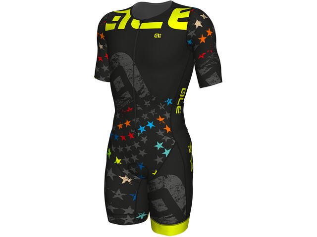 Alé Cycling Triathlon Stelle Traje Triatlón Manga Corta Hombre, black-fluo yellow